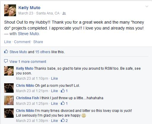 Kelly Muto Bully Facebook Posts - Fake Love and Narcissism On Display
